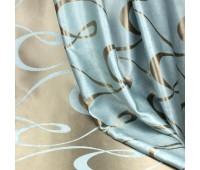 Ткань для штор блэкаут софт 2-х сторонний с рисунком WZGA3009-13 бирюзовый/коричневый (25 м±)