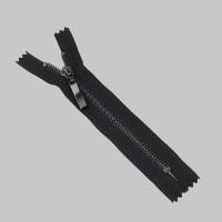 Молния металл неразъемная 16 см Т3 темный никель/черный (прямой)