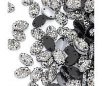 """Старзы """"зернистые"""" пришивные Овал 7*11 мм пластик темный никель (200 шт)"""