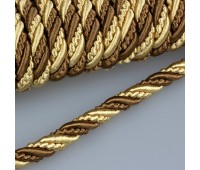 Шнур витой SH16-15 коричневый/золото (25 м)