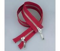 Молния металл 2-замка разъемная 60 см T5 (прямой) никель/красный (GCC148)
