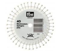 Булавки 028601 Prym с серебристыми пластиковыми головками 40х0,58 мм в розетке 40 шт