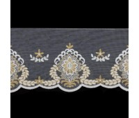 Тесьма на сетке 45 белый/золото (16 м)