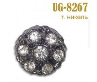 Пуговица со стразами 8267-UG темный никель (10 шт)