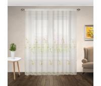 Готовая штора тюль микросетка с рисунком вышивкой 0103GL-1.214 (565х270 см) белая