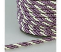 Шнур витой SH010 светло-бежевый/фиолетовый (50 м)