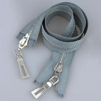 Молния металл 2-замка разъемная 80 см T8 никель/серый (GCC316)