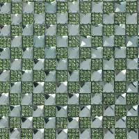 Стразы на листе 24х4см клеевые (квадрат 8х8мм) 13# зеленые