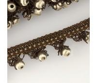 """Бахрома для штор с """"шариками"""" К01-2 коричневый/бежевый (25 м)"""